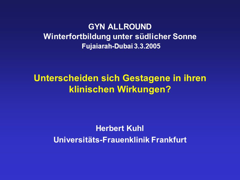 Herbert Kuhl Universitäts-Frauenklinik Frankfurt