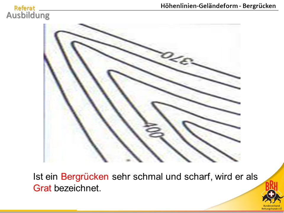 Höhenlinien-Geländeform - Bergrücken