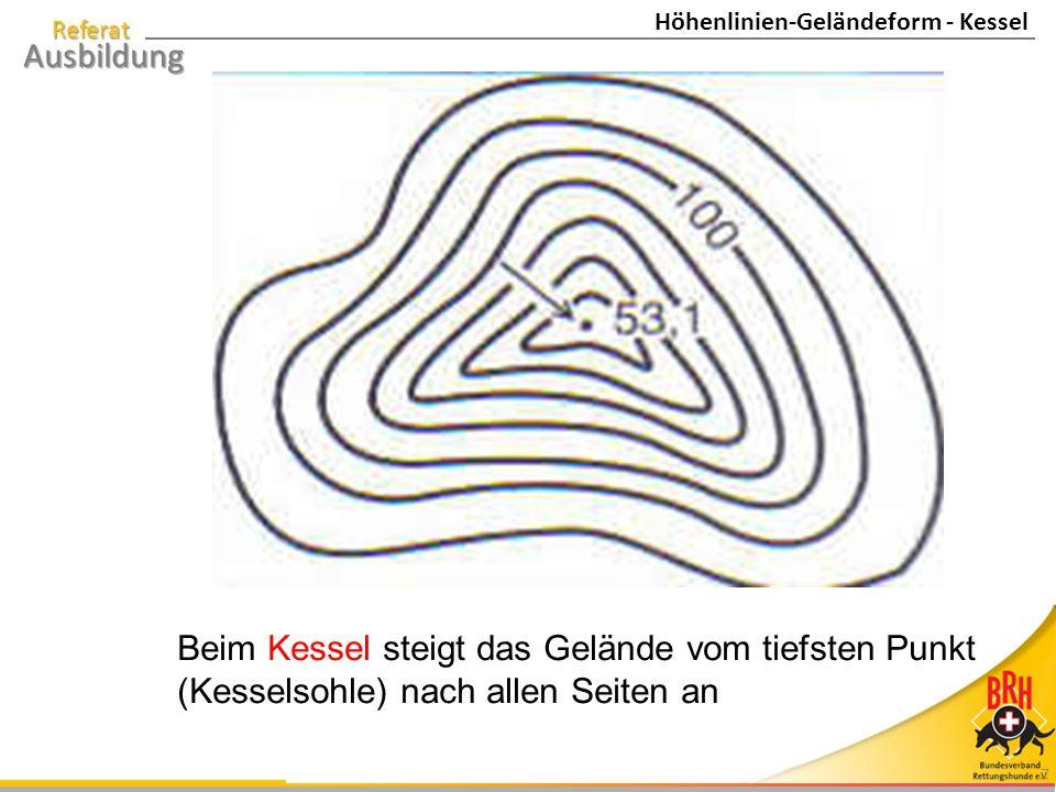 Höhenlinien-Geländeform - Kessel