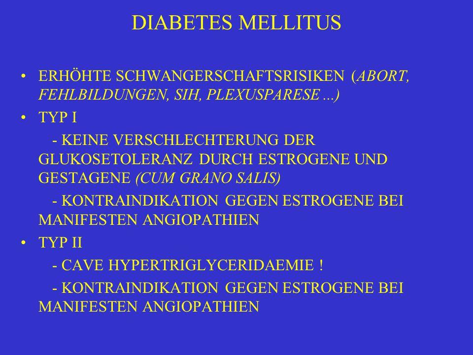 DIABETES MELLITUS ERHÖHTE SCHWANGERSCHAFTSRISIKEN (ABORT, FEHLBILDUNGEN, SIH, PLEXUSPARESE ...) TYP I.