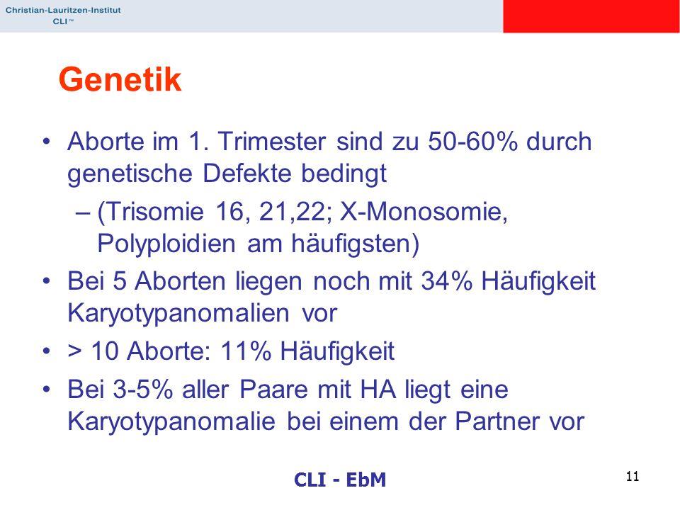 Genetik Aborte im 1. Trimester sind zu 50-60% durch genetische Defekte bedingt. (Trisomie 16, 21,22; X-Monosomie, Polyploidien am häufigsten)