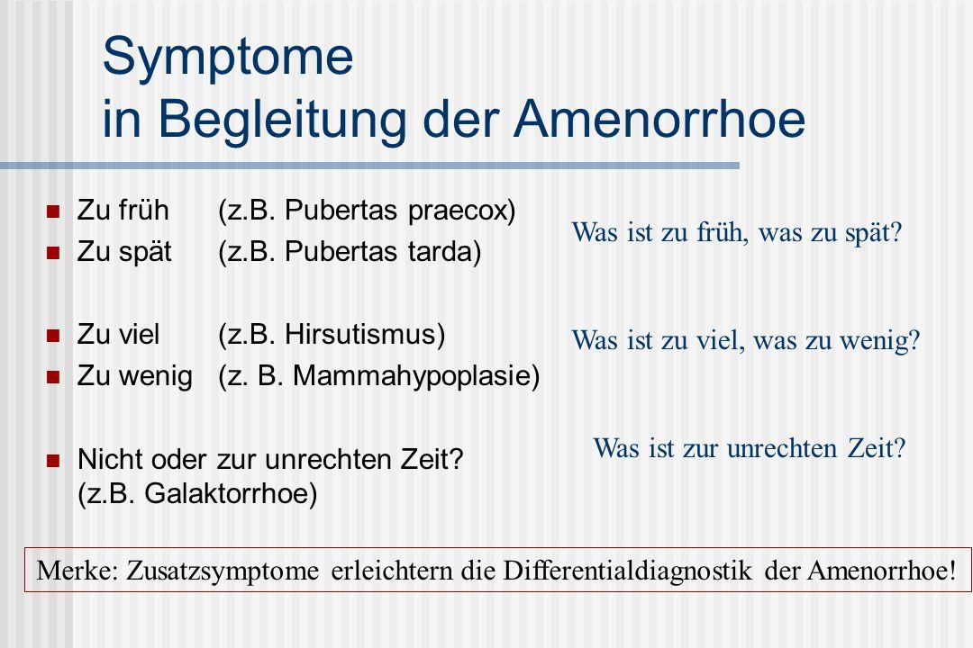 Symptome in Begleitung der Amenorrhoe
