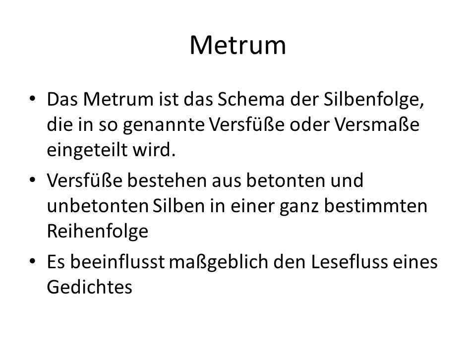 Metrum Das Metrum ist das Schema der Silbenfolge, die in so genannte Versfüße oder Versmaße eingeteilt wird.