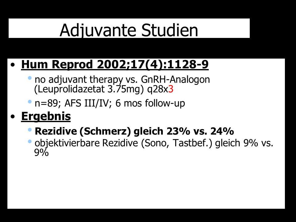 Adjuvante Studien Hum Reprod 2002;17(4):1128-9 Ergebnis