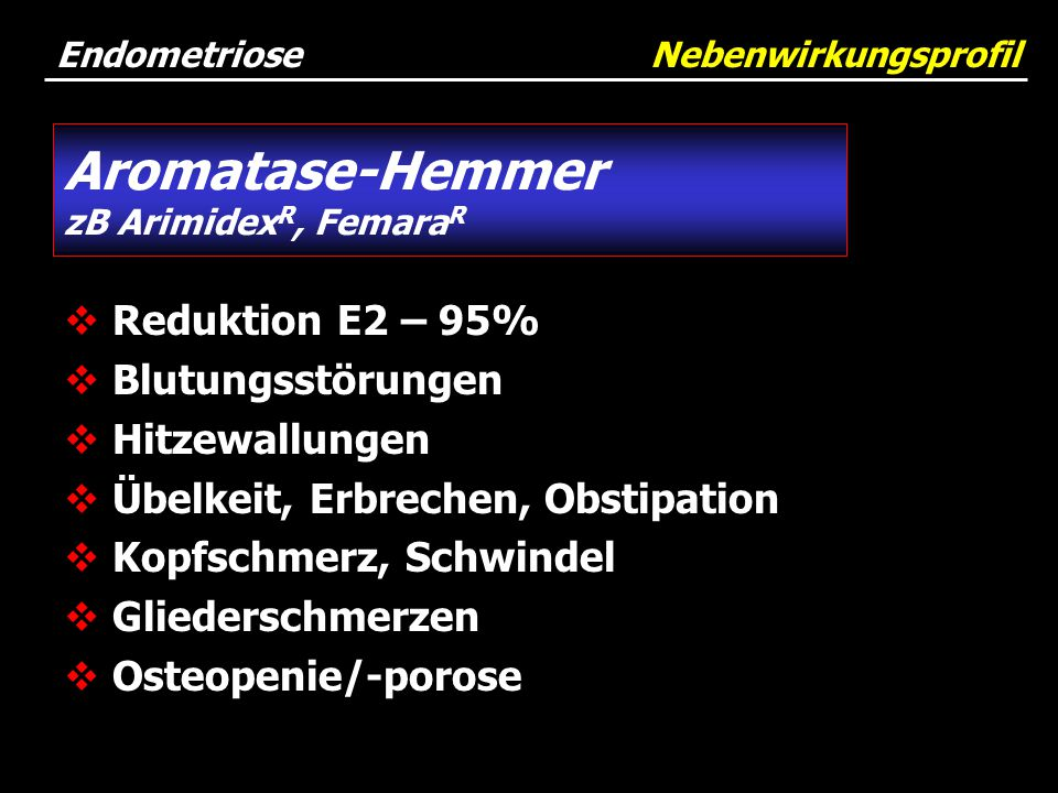 Endometriose Nebenwirkungsprofil