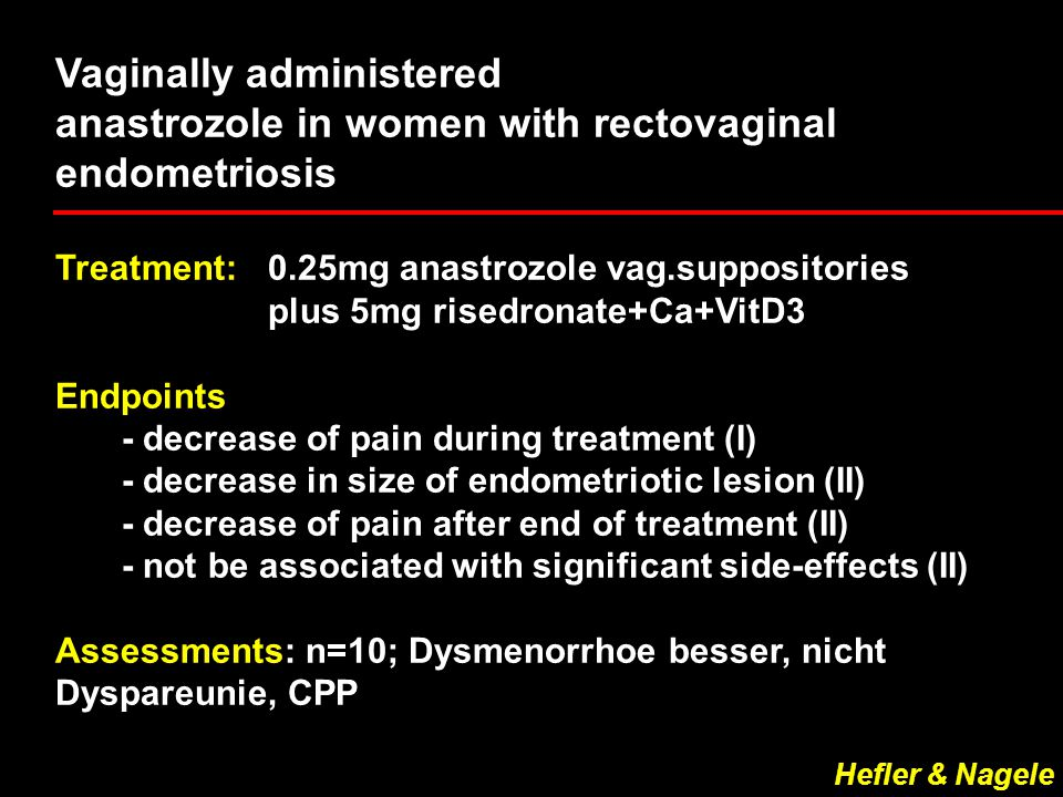 Vaginally administered anastrozole in women with rectovaginal