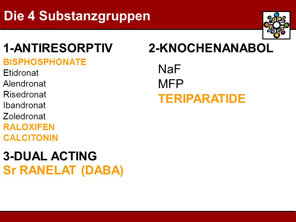 1-ANTIRESORPTIV 2-KNOCHENANABOL