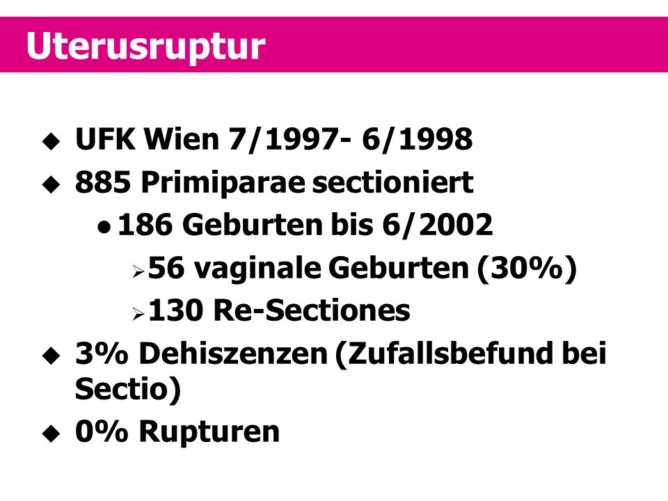 Uterusruptur UFK Wien 7/1997- 6/1998 885 Primiparae sectioniert