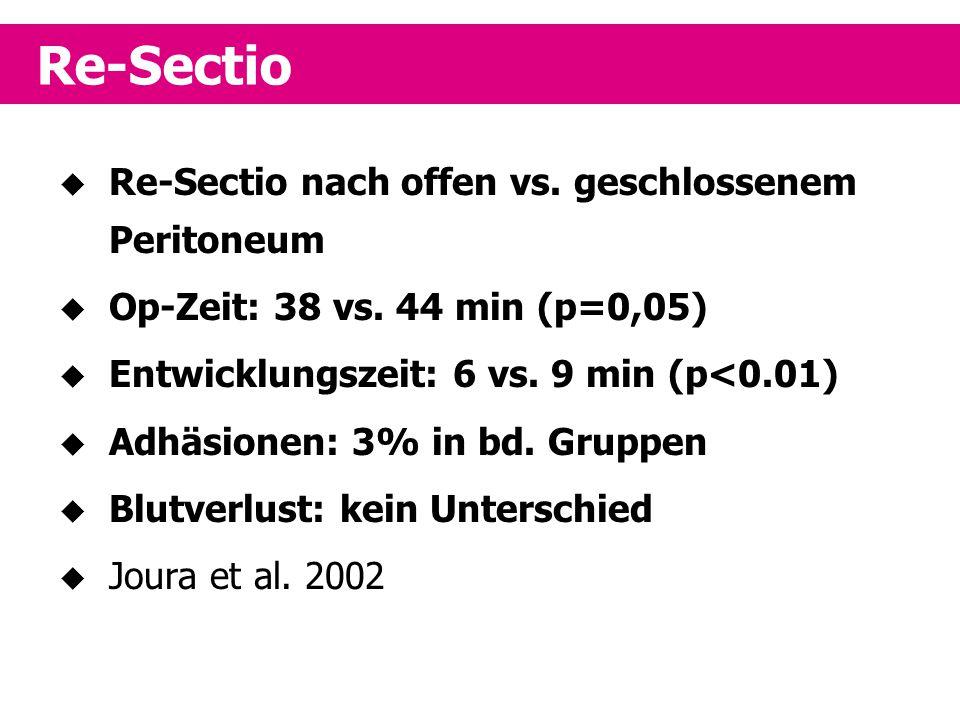 Re-Sectio Re-Sectio nach offen vs. geschlossenem Peritoneum