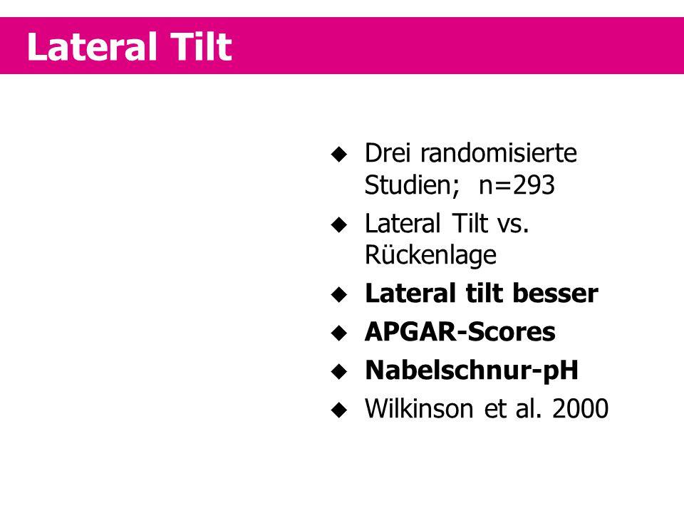 Lateral Tilt Drei randomisierte Studien; n=293