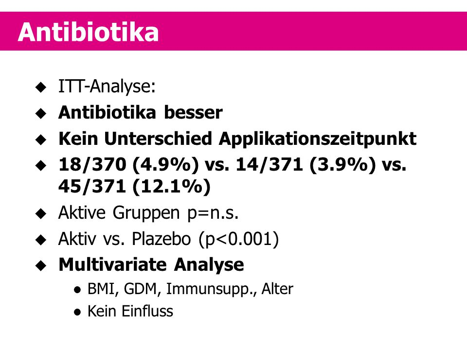 Antibiotika ITT-Analyse: Antibiotika besser