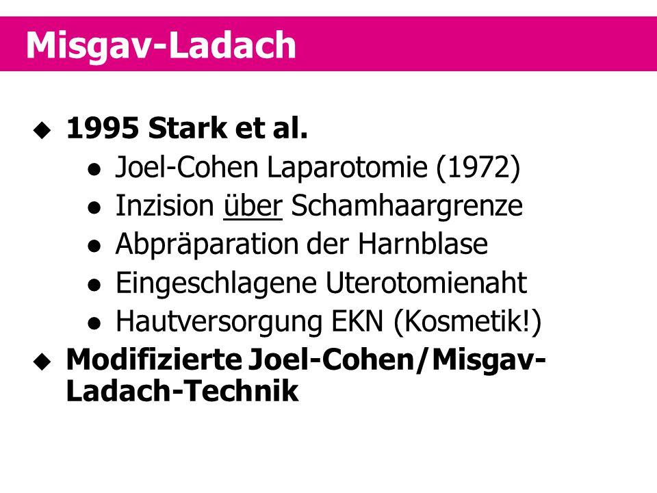 Misgav-Ladach 1995 Stark et al. Joel-Cohen Laparotomie (1972)