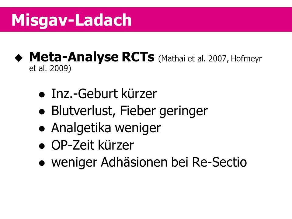 Misgav-Ladach Meta-Analyse RCTs (Mathai et al. 2007, Hofmeyr et al. 2009) Inz.-Geburt kürzer. Blutverlust, Fieber geringer.