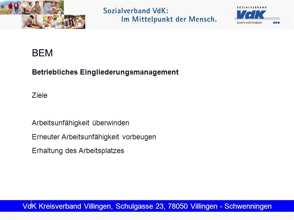 BEM Betriebliches Eingliederungsmanagement Ziele