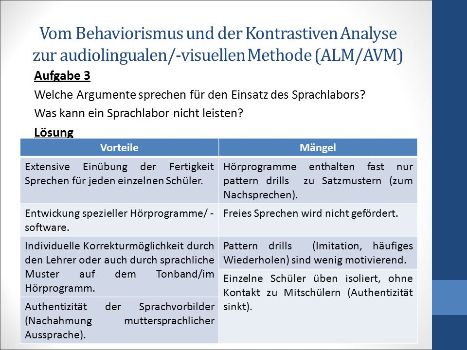 Vom Behaviorismus und der Kontrastiven Analyse zur audiolingualen/-visuellen Methode (ALM/AVM)