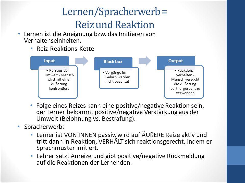 Lernen/Spracherwerb = Reiz und Reaktion