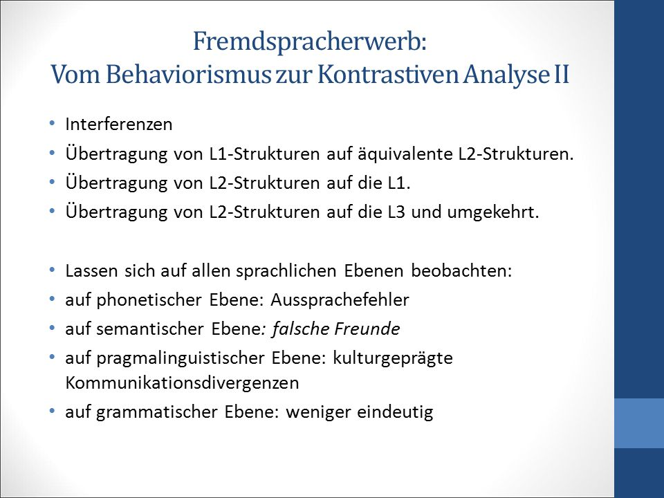 Fremdspracherwerb: Vom Behaviorismus zur Kontrastiven Analyse II