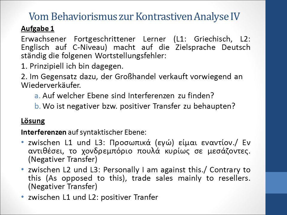Vom Behaviorismus zur Kontrastiven Analyse IV