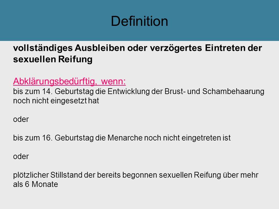 Tilak GsmbH: Definition. vollständiges Ausbleiben oder verzögertes Eintreten der sexuellen Reifung.
