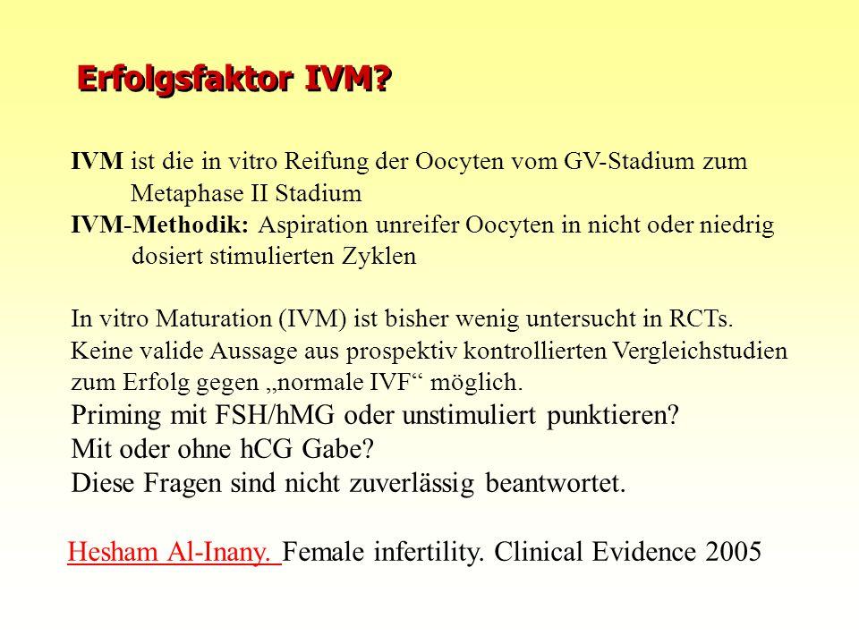 Erfolgsfaktor IVM IVM ist die in vitro Reifung der Oocyten vom GV-Stadium zum Metaphase II Stadium.