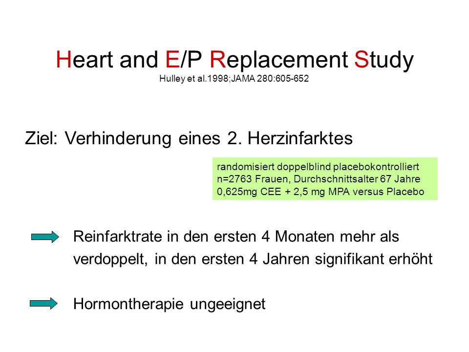 Heart and E/P Replacement Study Hulley et al.1998;JAMA 280:605-652