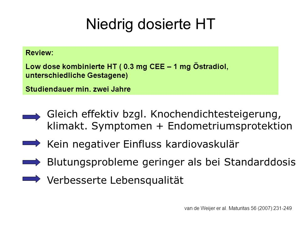 Niedrig dosierte HT Review: Low dose kombinierte HT ( 0.3 mg CEE – 1 mg Östradiol, unterschiedliche Gestagene)
