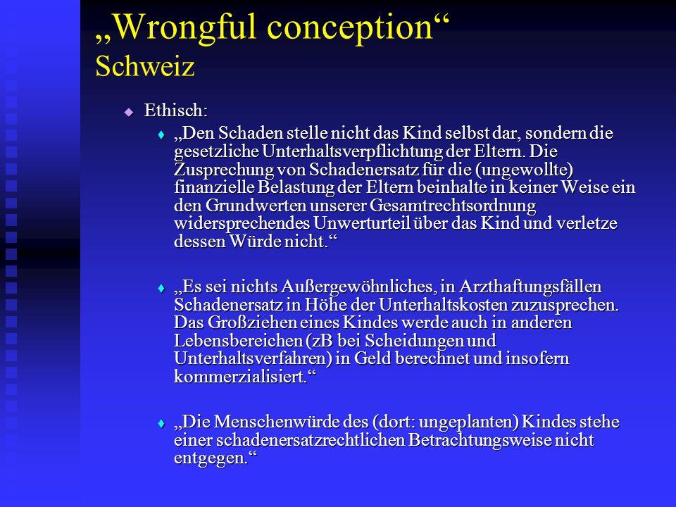 """Wrongful conception Schweiz"