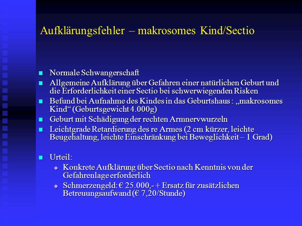 Aufklärungsfehler – makrosomes Kind/Sectio