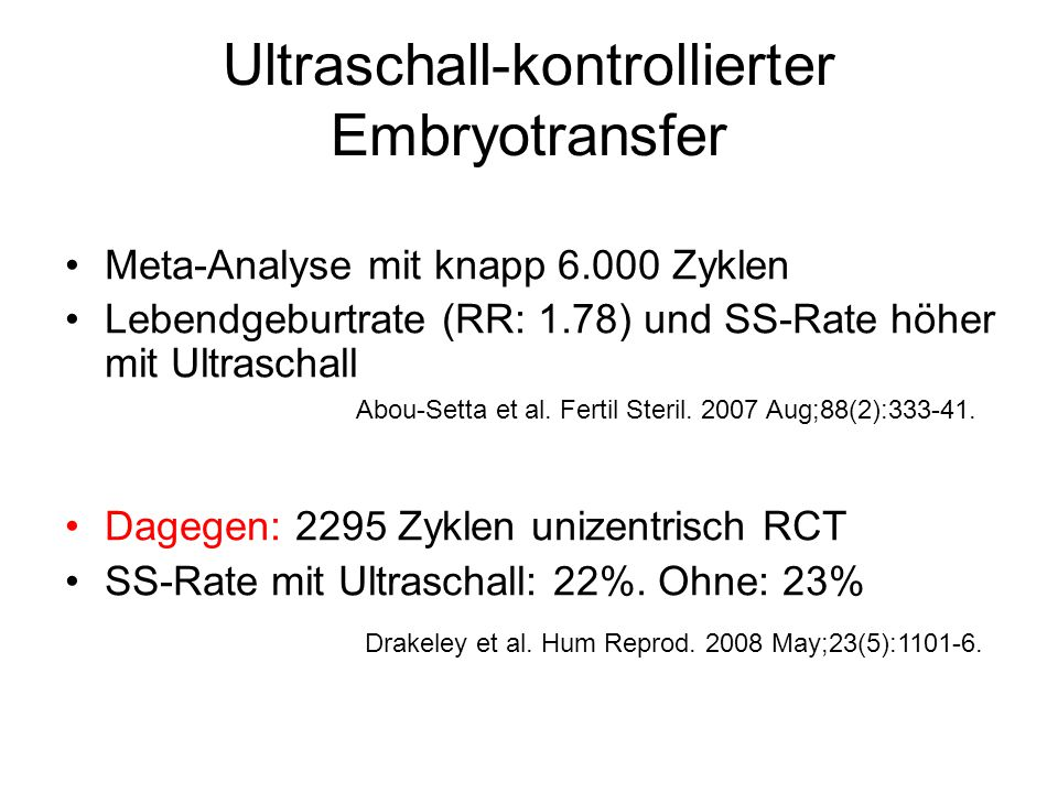 Ultraschall-kontrollierter Embryotransfer