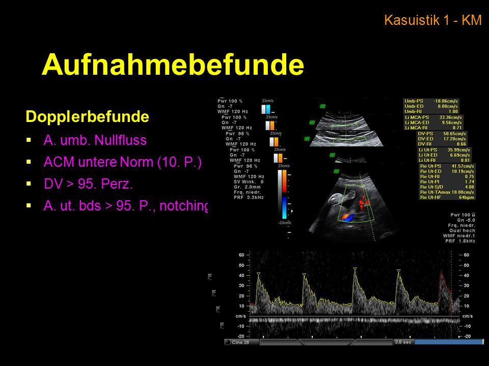Aufnahmebefunde Dopplerbefunde Kasuistik 1 - KM A. umb. Nullfluss