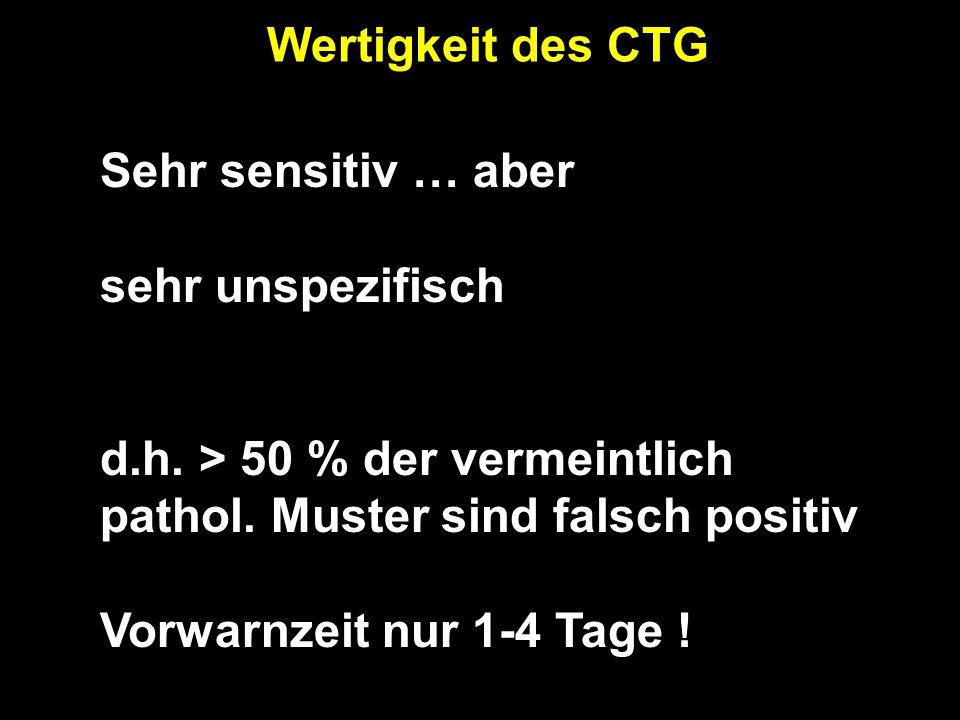 Wertigkeit des CTG Sehr sensitiv … aber. sehr unspezifisch. d.h. > 50 % der vermeintlich pathol. Muster sind falsch positiv.