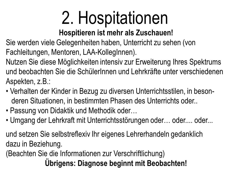 2. Hospitationen Hospitieren ist mehr als Zuschauen!