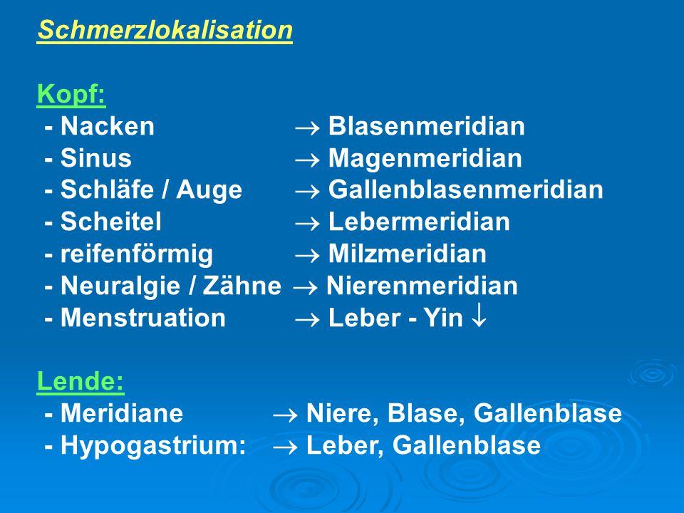 Schmerzlokalisation Kopf: - Nacken  Blasenmeridian. - Sinus  Magenmeridian. - Schläfe / Auge  Gallenblasenmeridian.