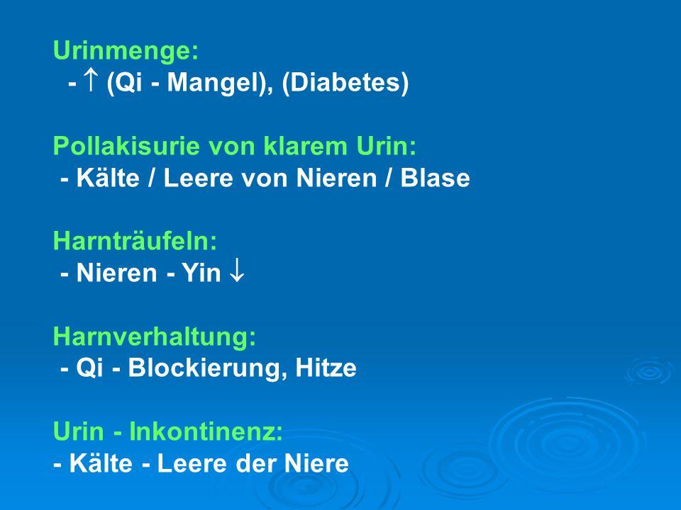 Urinmenge: -  (Qi - Mangel), (Diabetes) Pollakisurie von klarem Urin: - Kälte / Leere von Nieren / Blase.