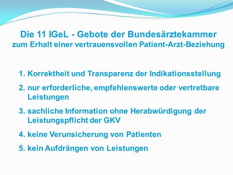 Die 11 IGeL - Gebote der Bundesärztekammer zum Erhalt einer vertrauensvollen Patient-Arzt-Beziehung