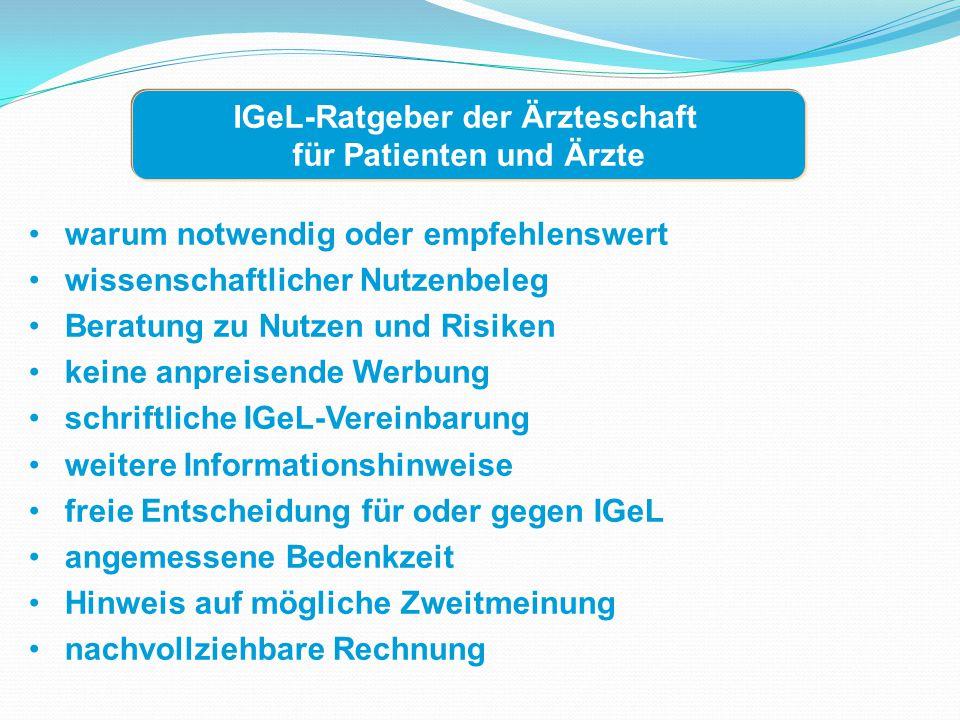 IGeL-Ratgeber der Ärzteschaft für Patienten und Ärzte