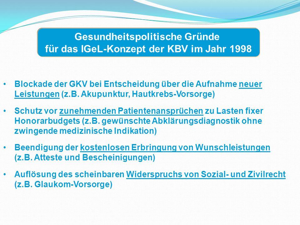 Gesundheitspolitische Gründe für das IGeL-Konzept der KBV im Jahr 1998