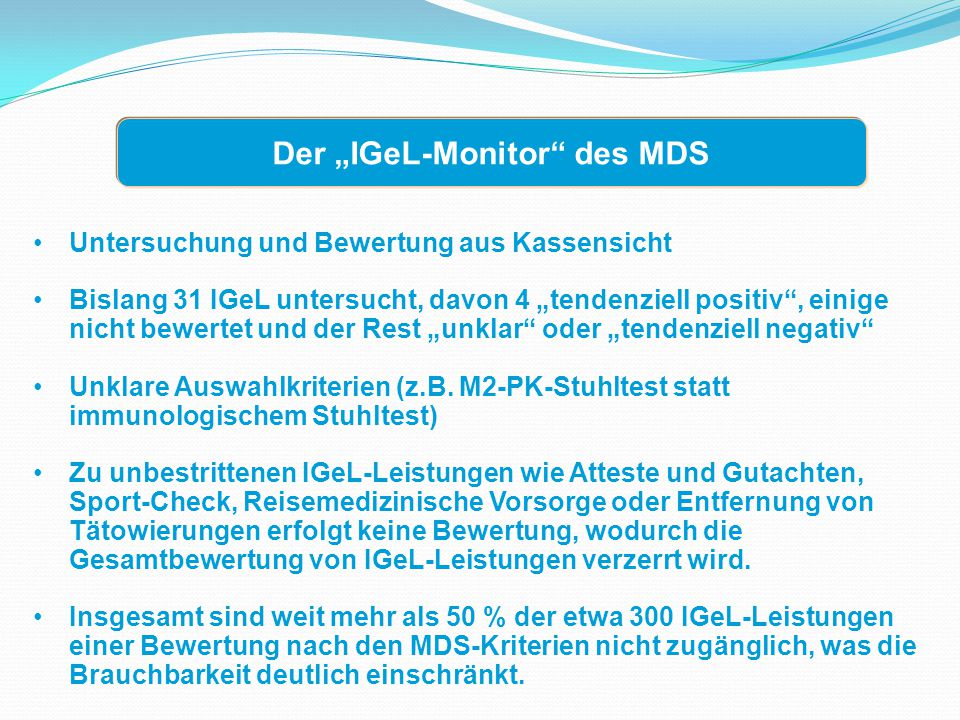 """Der """"IGeL-Monitor des MDS"""