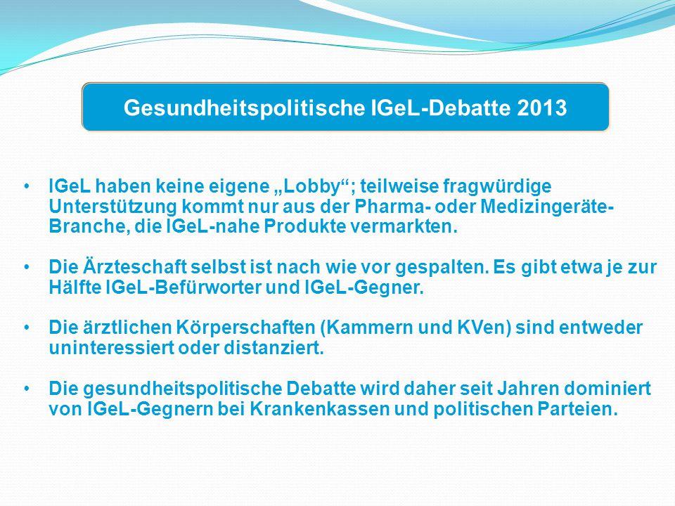 Gesundheitspolitische IGeL-Debatte 2013