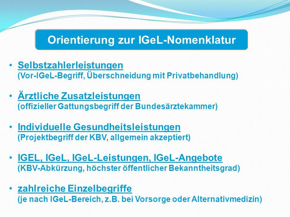 Orientierung zur IGeL-Nomenklatur