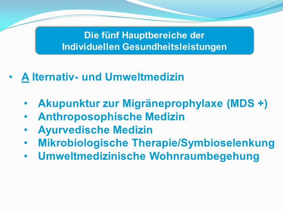 Die fünf Hauptbereiche der Individuellen Gesundheitsleistungen