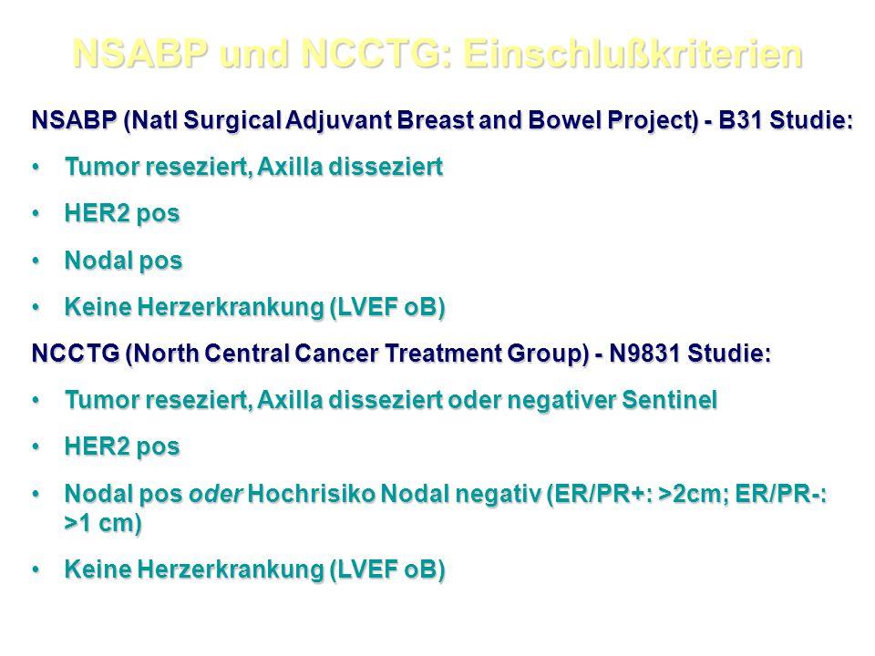 NSABP und NCCTG: Einschlußkriterien
