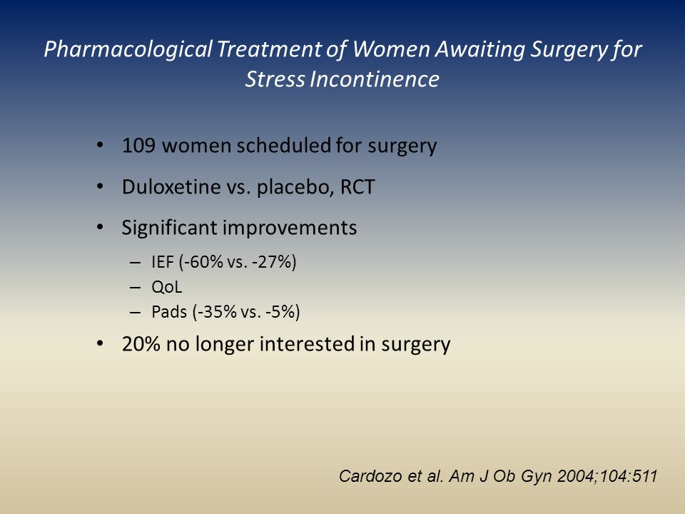 Pharmacological Treatment of Women Awaiting Surgery for Stress Incontinence