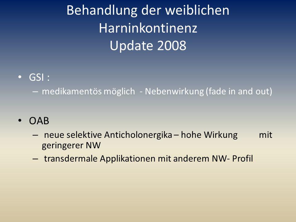 Behandlung der weiblichen Harninkontinenz Update 2008