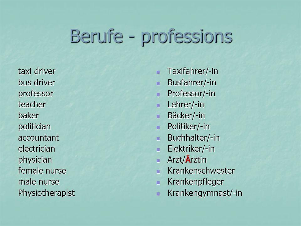Berufe - professions taxi driver bus driver professor teacher baker