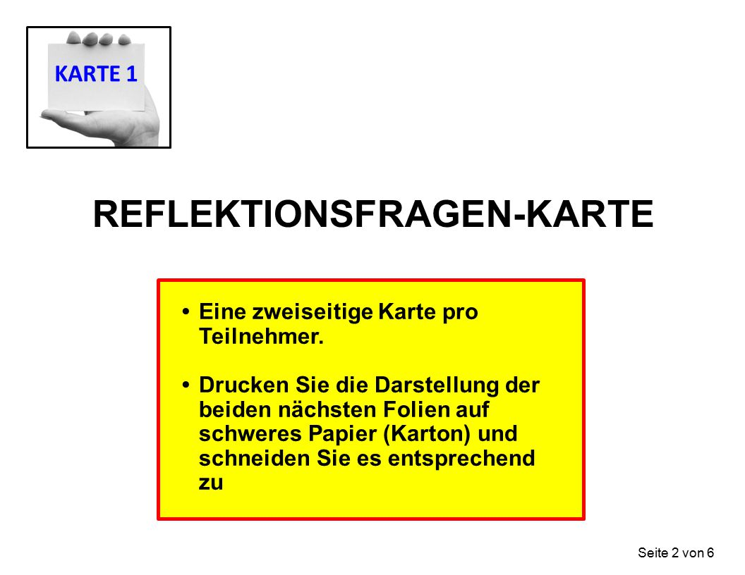 REFLEKTIONSFRAGEN-KARTE