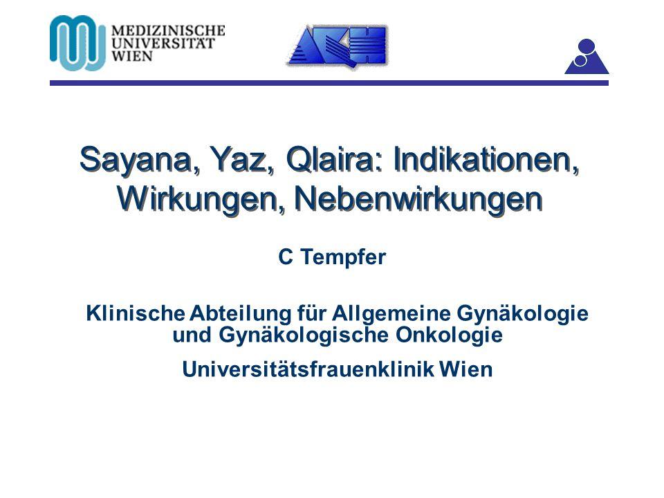 Sayana, Yaz, Qlaira: Indikationen, Wirkungen, Nebenwirkungen