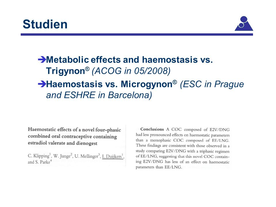 Studien Metabolic effects and haemostasis vs. Trigynon® (ACOG in 05/2008) Haemostasis vs.