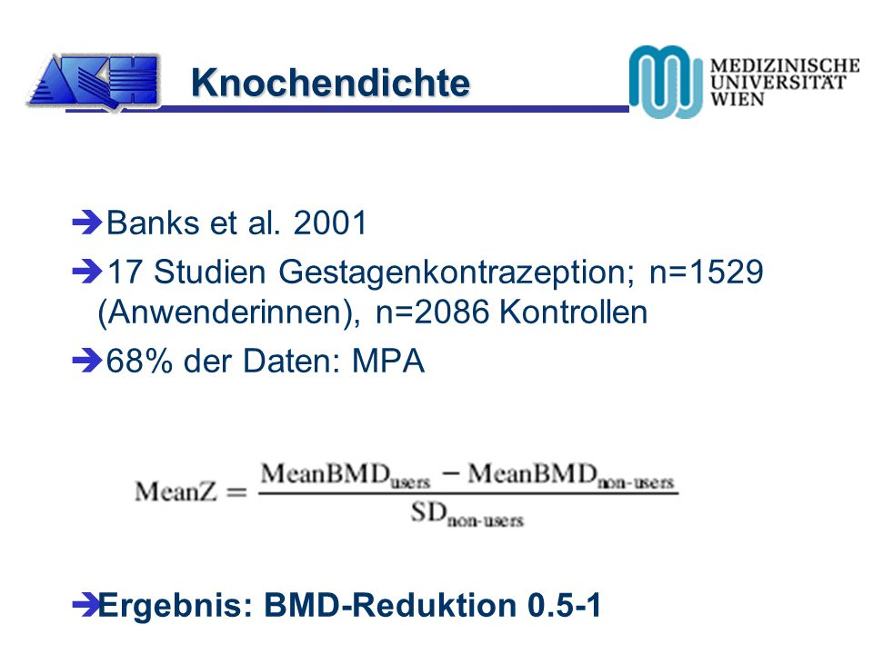 Knochendichte Banks et al. 2001