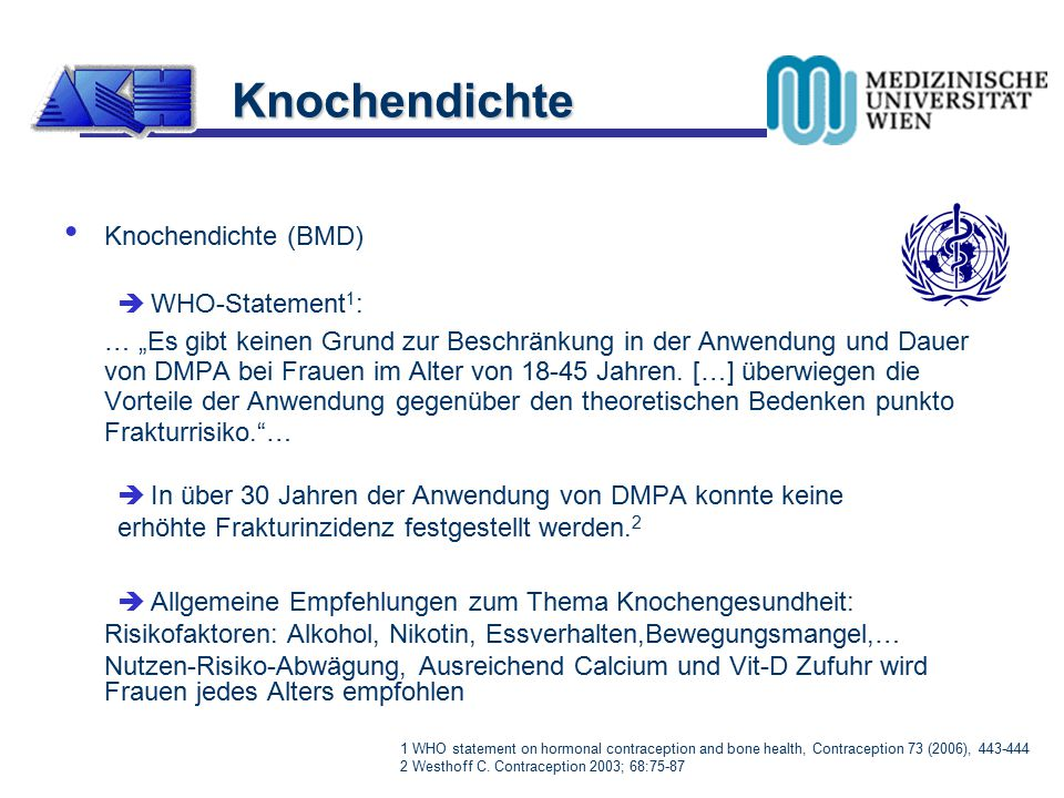 Knochendichte Knochendichte (BMD) WHO-Statement1: